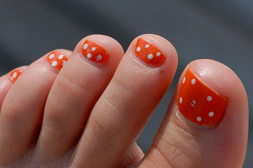 Orange Toe Nail Designs