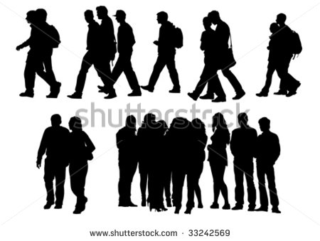 16 Human Walking Silhouette Vector Images Human