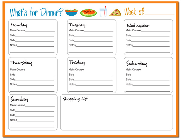 Printable Weekly Dinner Menu Planner