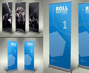 Roll Up Banner PSD Mockups
