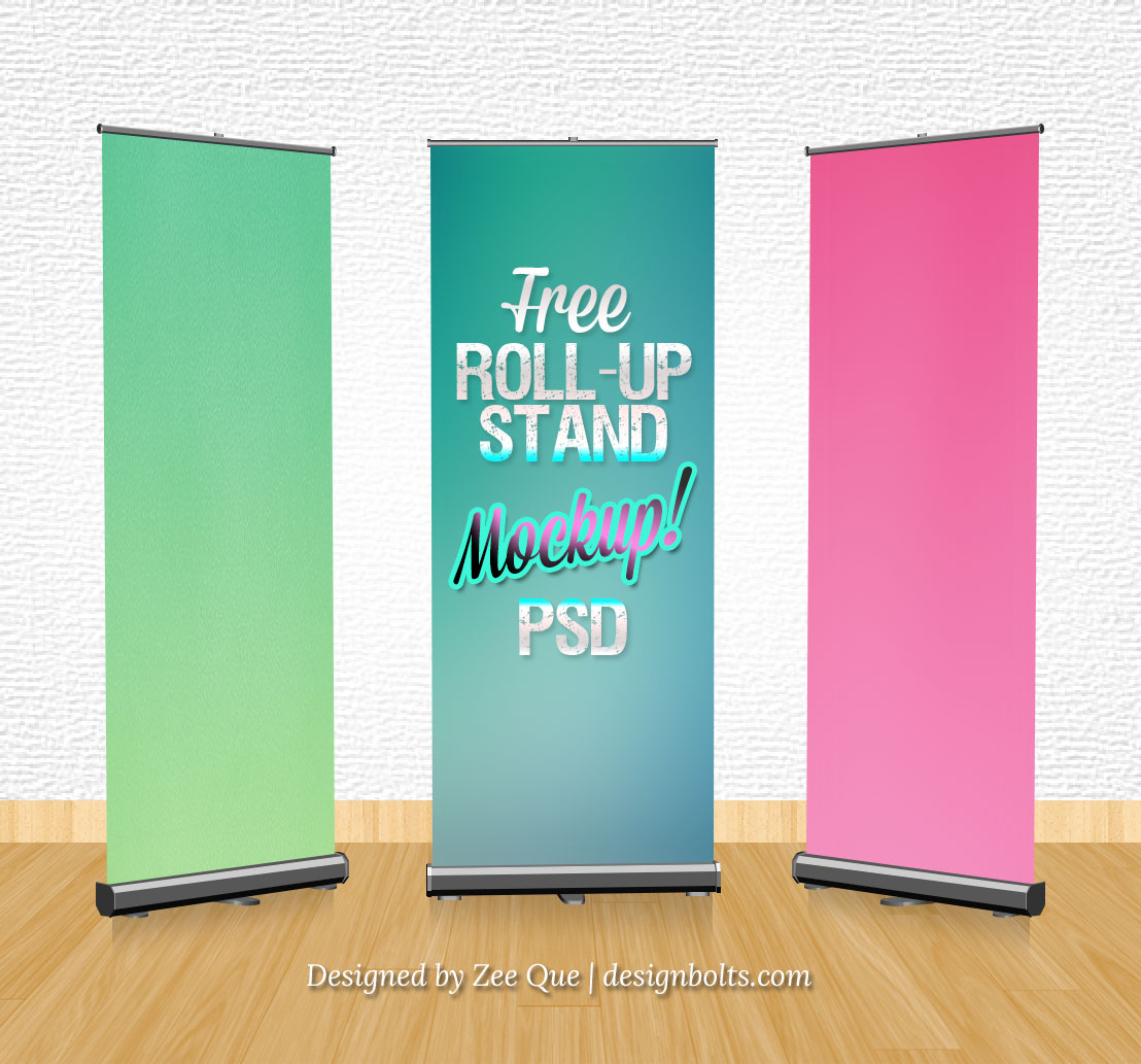 14 Roll Up Banner Mockups PSD Images