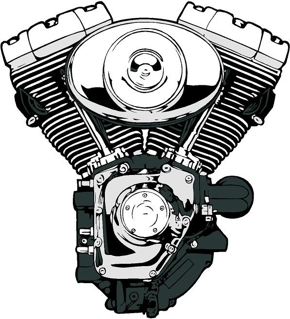 V-Twin Engine Clip Art