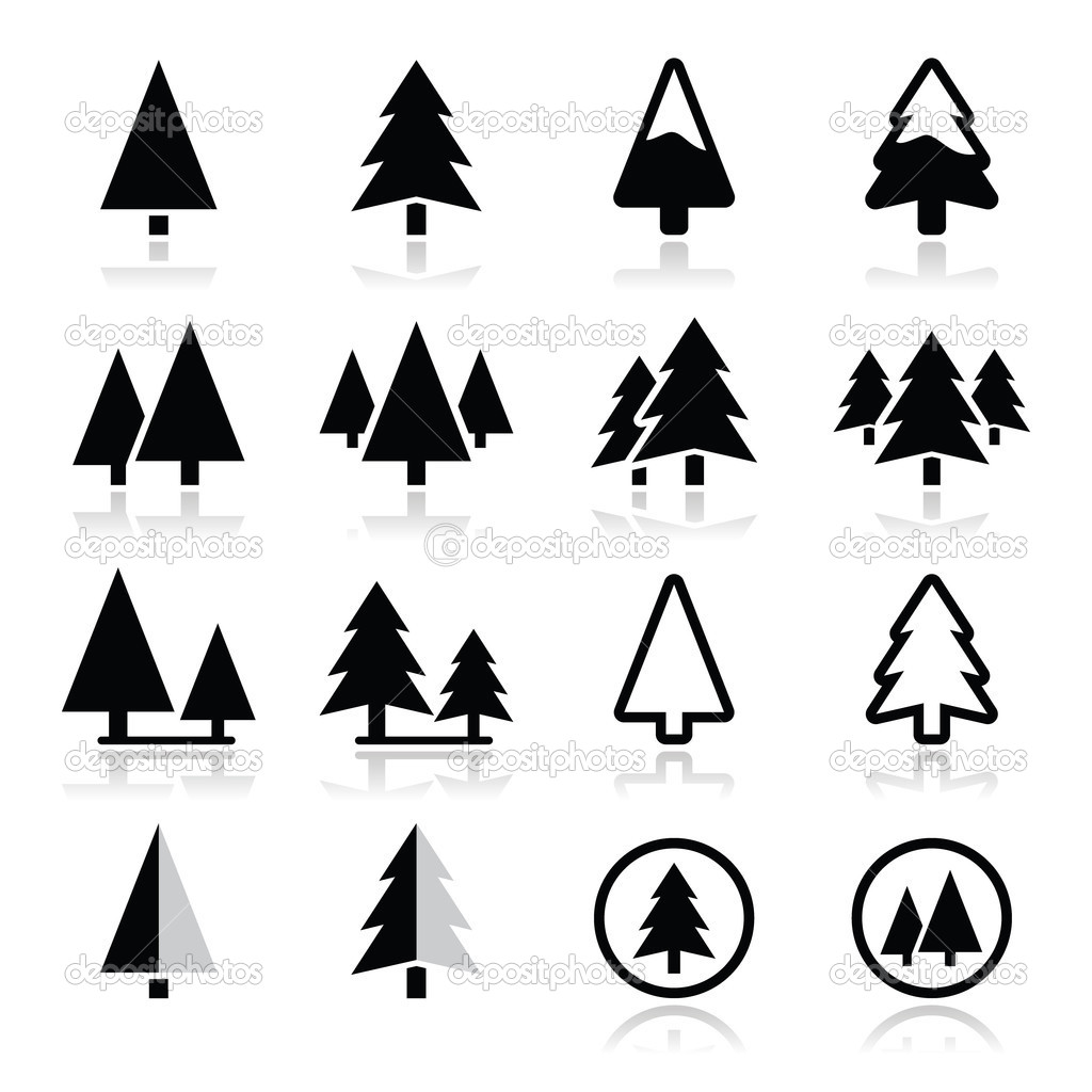 Vector Pine Tree Forest