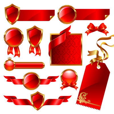 Vector Red Ribbon Theme