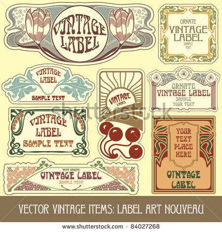 Vintage Label Vector Art Nouveau Items