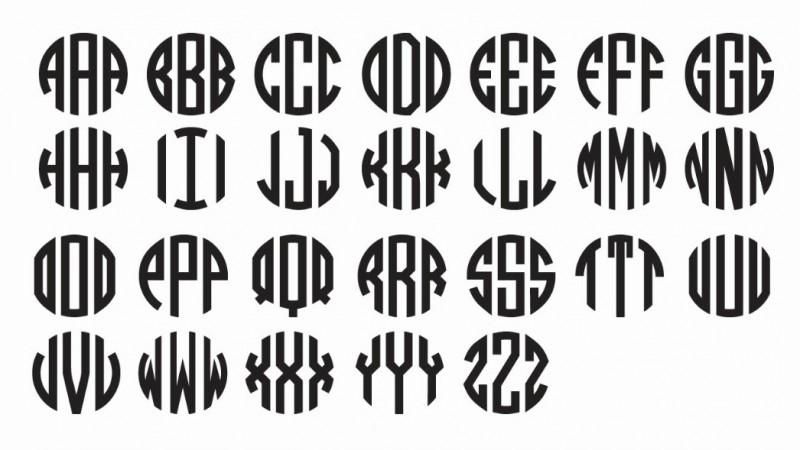 7 Circle Block Monogram Font Free Images