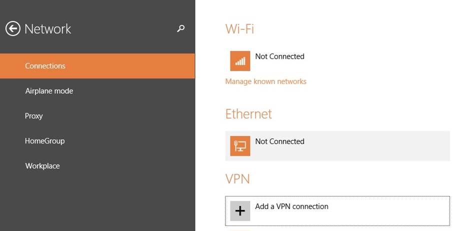 VPN Connections Windows 8