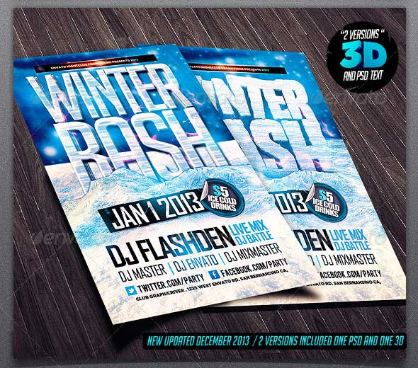 Winter Bash Party Flyers