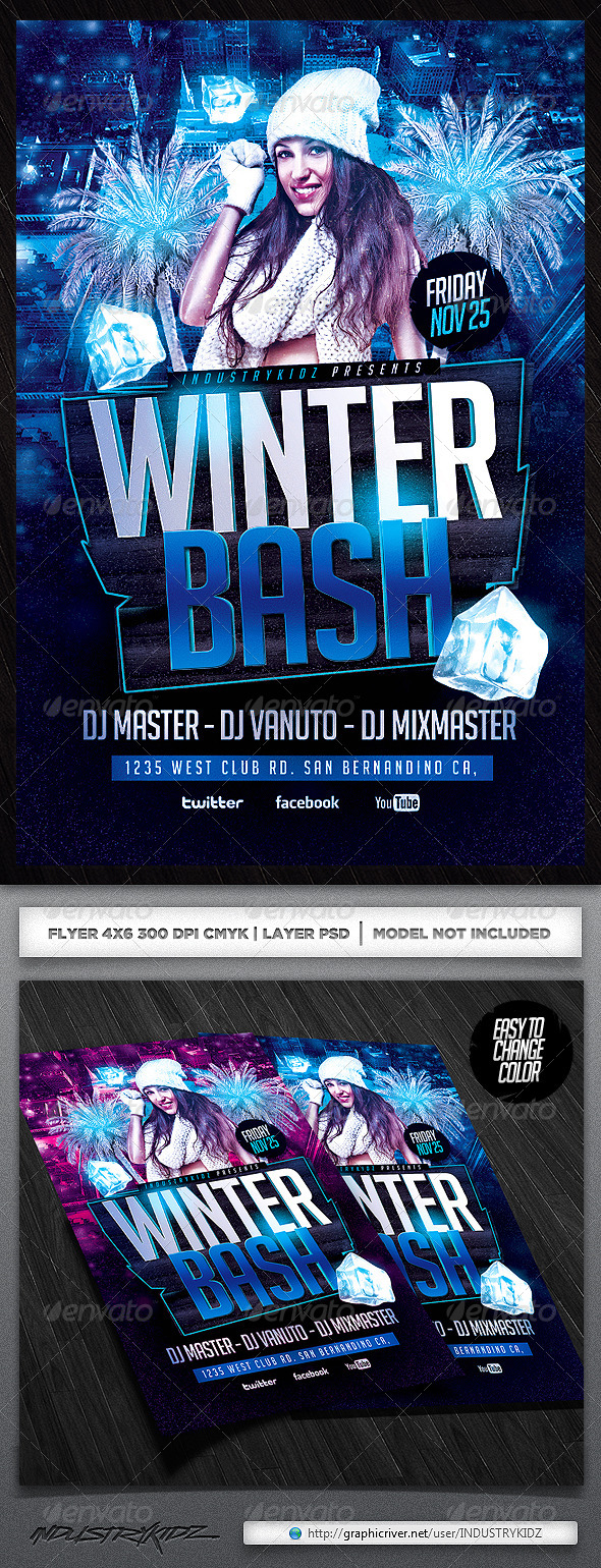 Winter Birthday Party Flyers