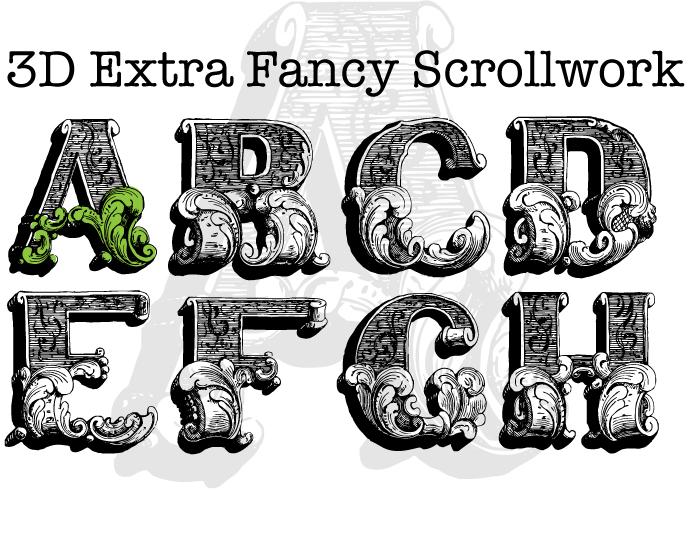 3D Fancy Fonts Alphabet