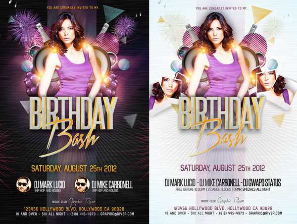 16 Free Birthday Flyer Template Psd Images Birthday Party Club