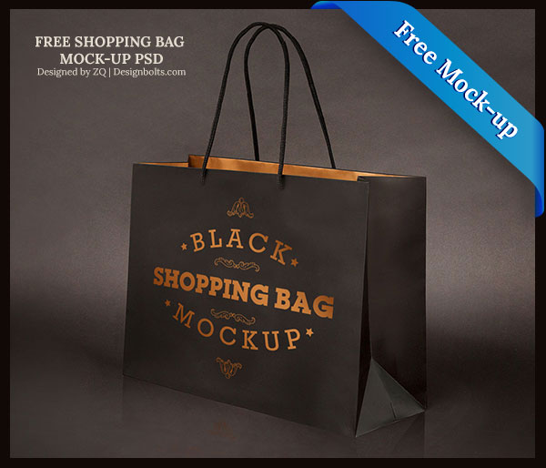 Black Shopping Bag PSD Mock Up