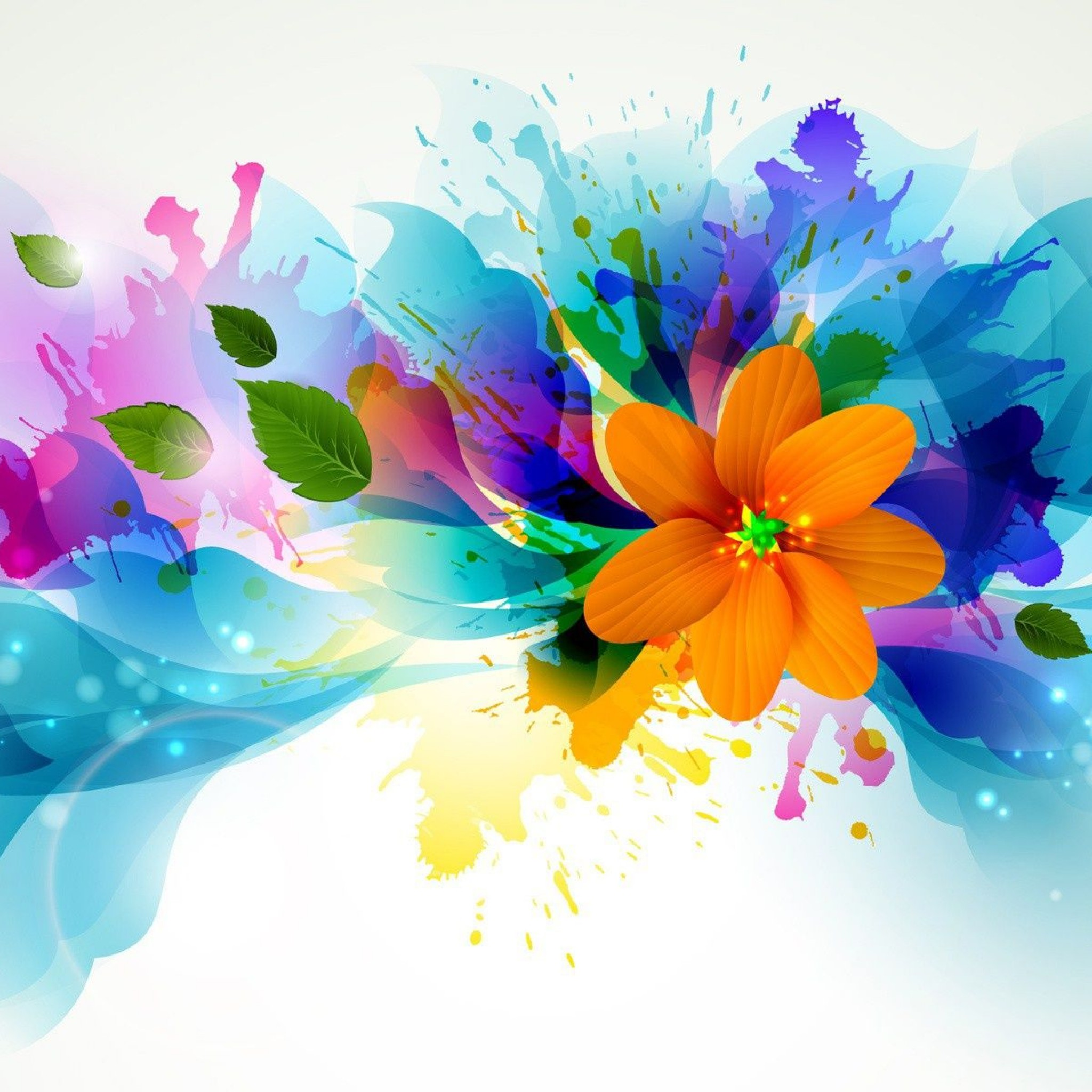 Colorful Abstract Art Flowers