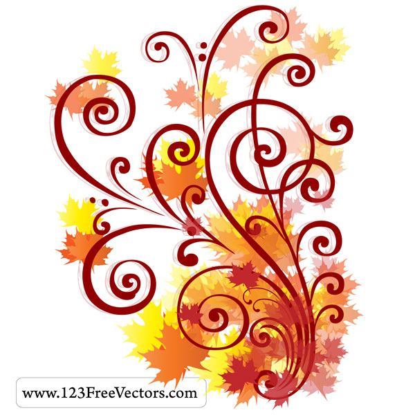 Fall Autumn Clip Art Swirl Design