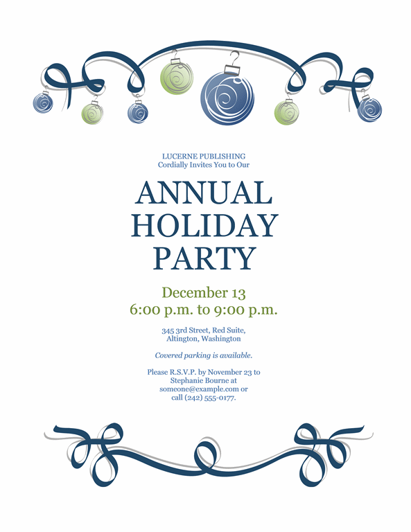 Formal Holiday Party Invitation Template