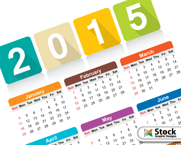 Free Colorful Calendar Templates 2015