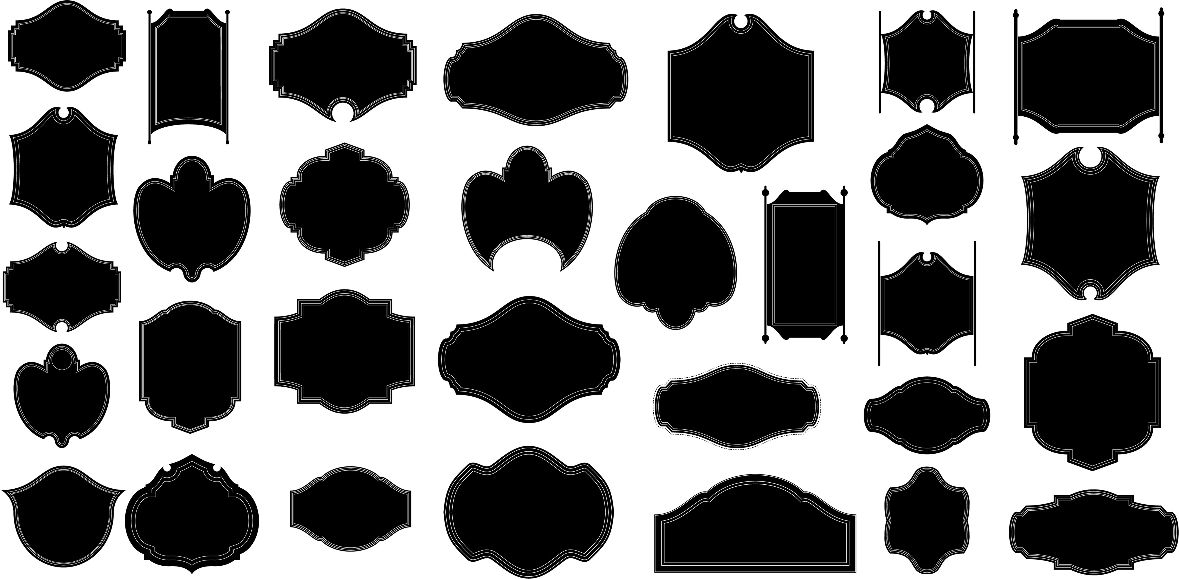 15 Shapes Vector Frame Images - Label Shapes Vector ...