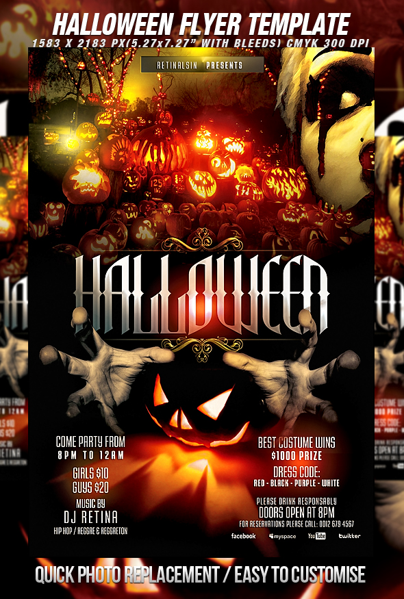 13 Halloween Flyer PSD Template Images