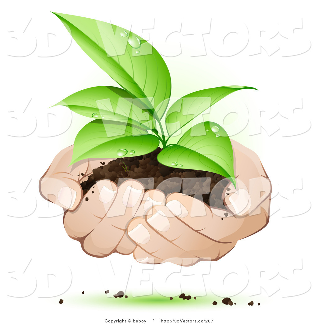 Hands Holding Plant Free Clip Art