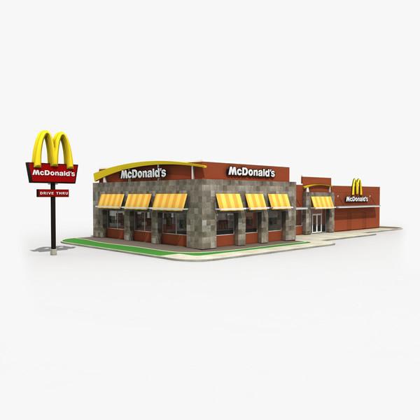 14 Restaurant Building Icon 3D Images