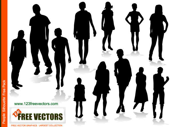 18 People Silhouette Vector Free Download Images