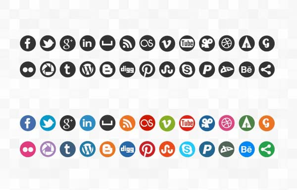15 Individual Social Media Icons PSD Images