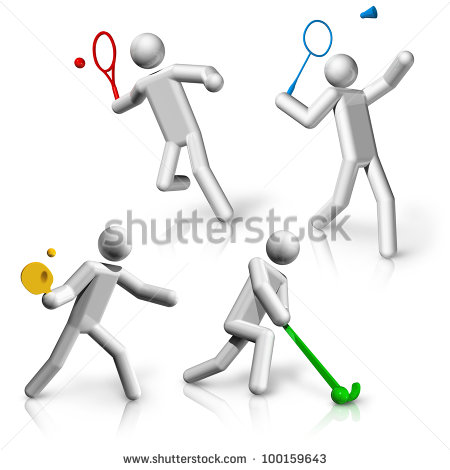 Sports Table Tennis and Badminton Cartoon Pictures