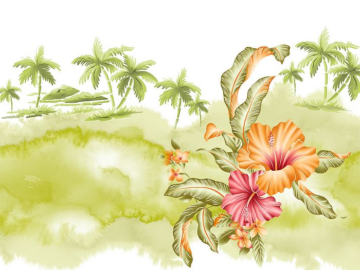 Tropical Flower Art Wallpaper