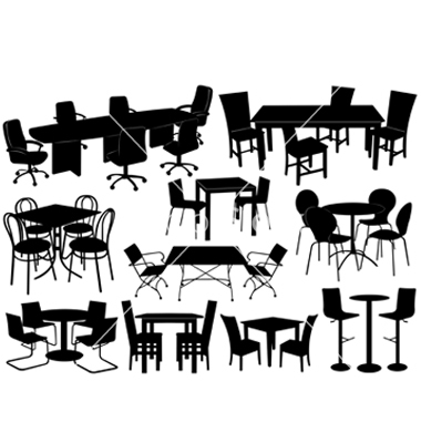 14 Tables And Chairs Vector Silhouettes Images