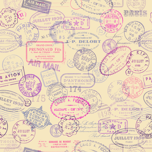 Vintage Travel Stamps Vector