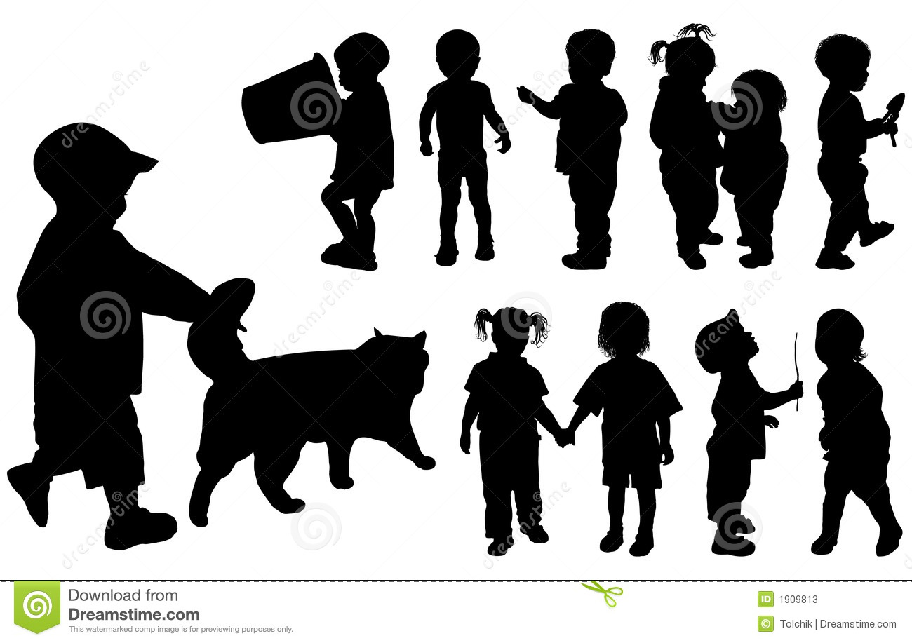 Baby Boy and Girl Silhouette