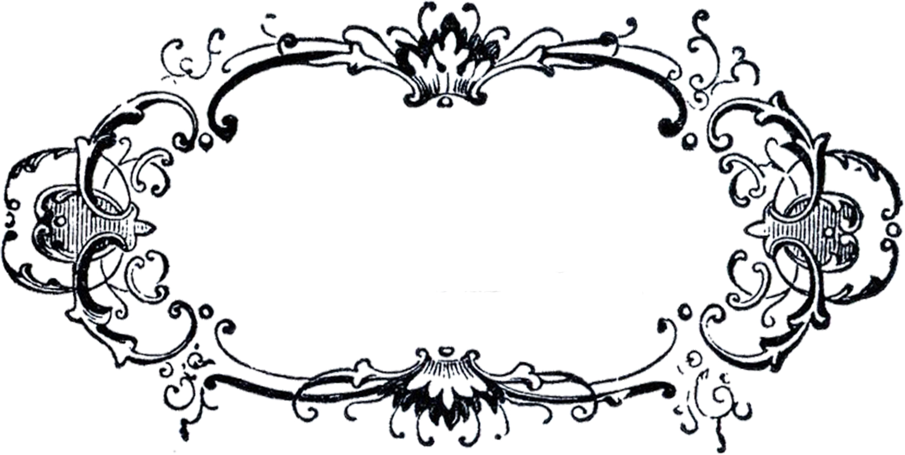 Black And White Fancy Label Clip Art