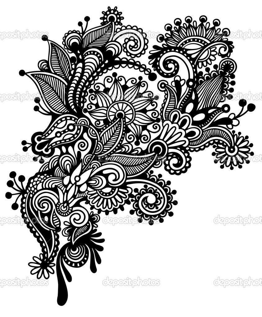 charming black and white flower design drawing