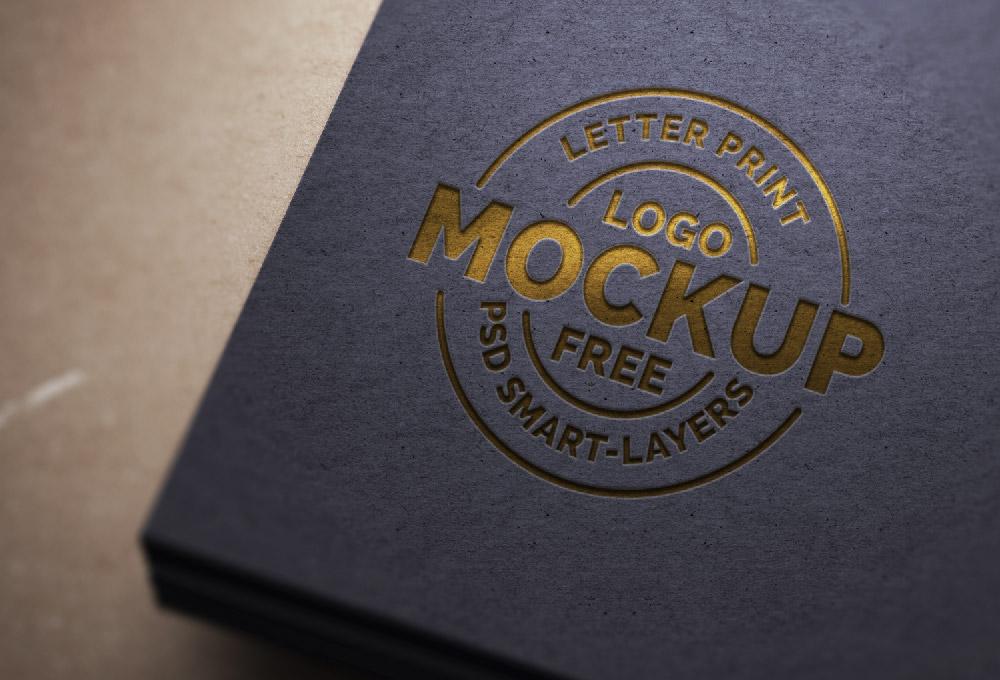 Black Paper PSD Logo Mock-Up Free