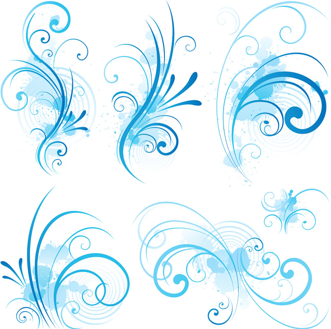 16 Royal Blue Floral Swirls Vector Images