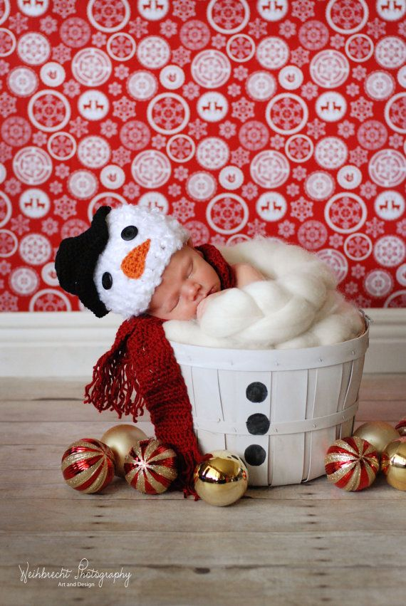 christmas baby snowman hat