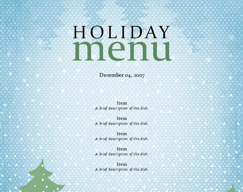 word holiday templates free