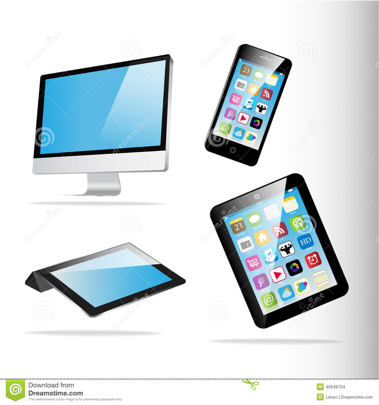 Computer Tablet Phone Vector