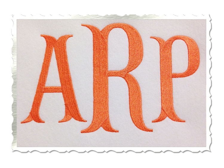 Fishtail Embroidery Font Large