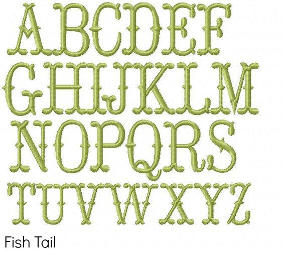 Fishtail Embroidery Monogram Font