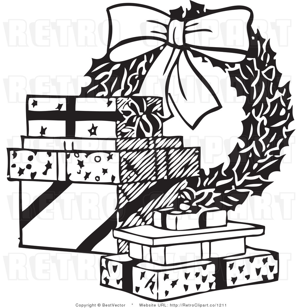 18 Vector Art Black And White Christmas Images