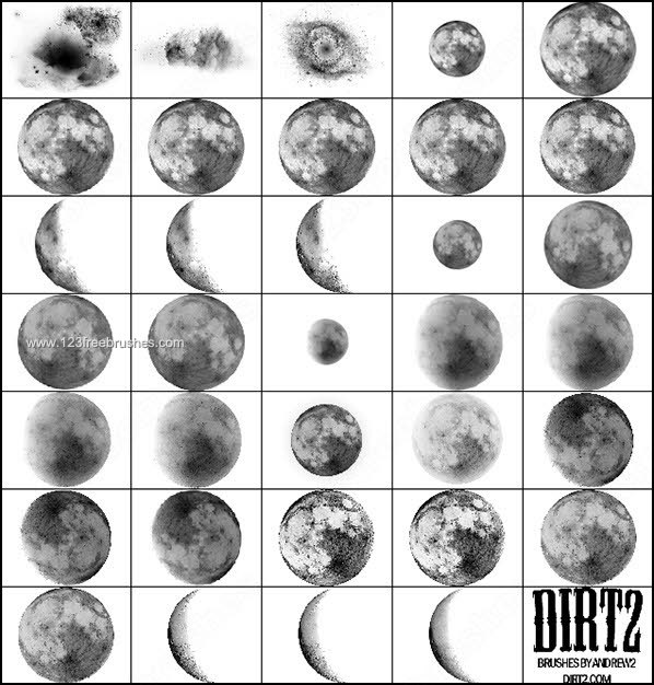 9 Moon Vector Photoshop Brushes Images
