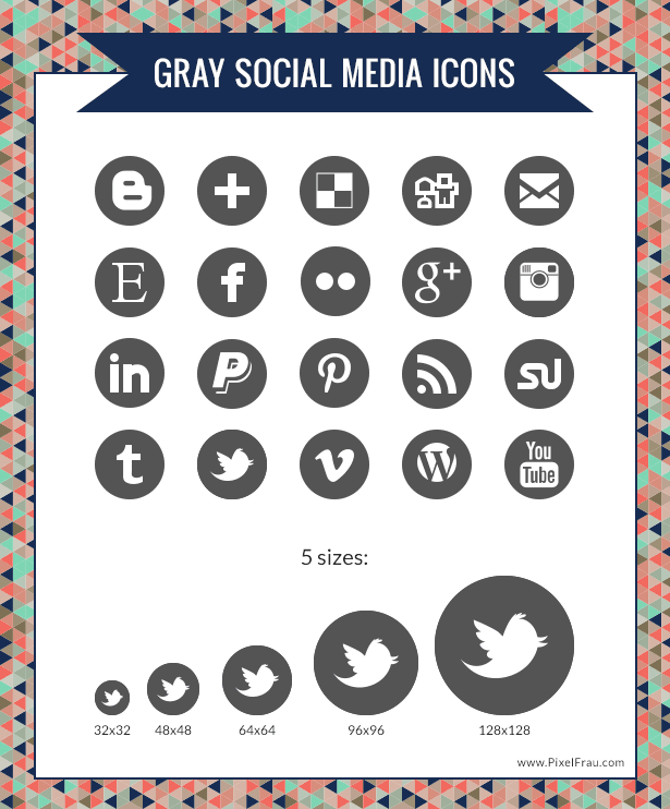 7 Social Media Icons Grey Images