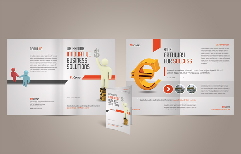 14 A4 Brochure PSD Templates Images - Half Fold Brochure Template