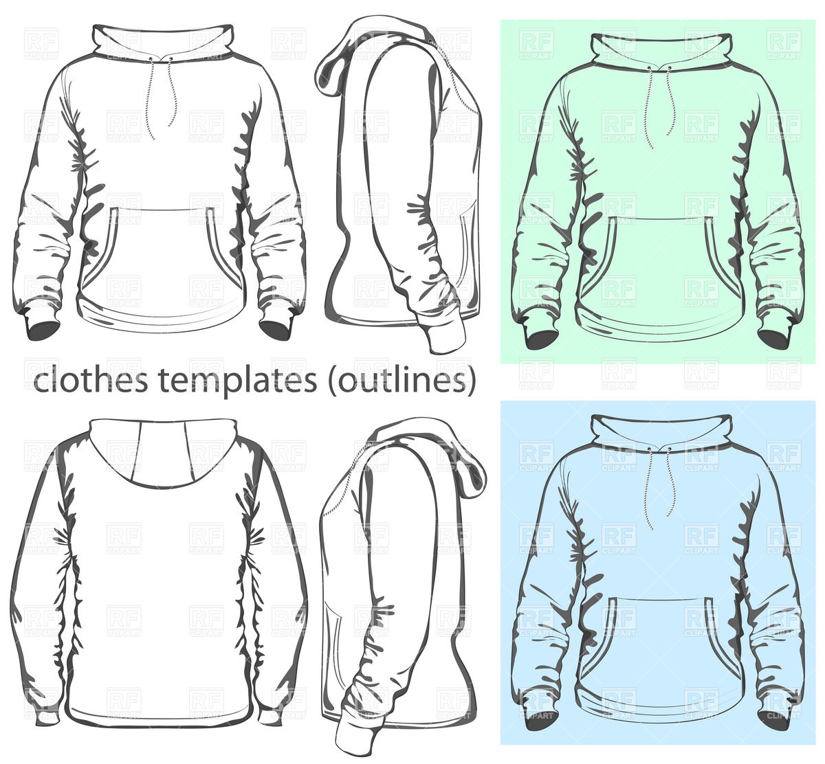 12 Hooded Sweatshirt Template Images