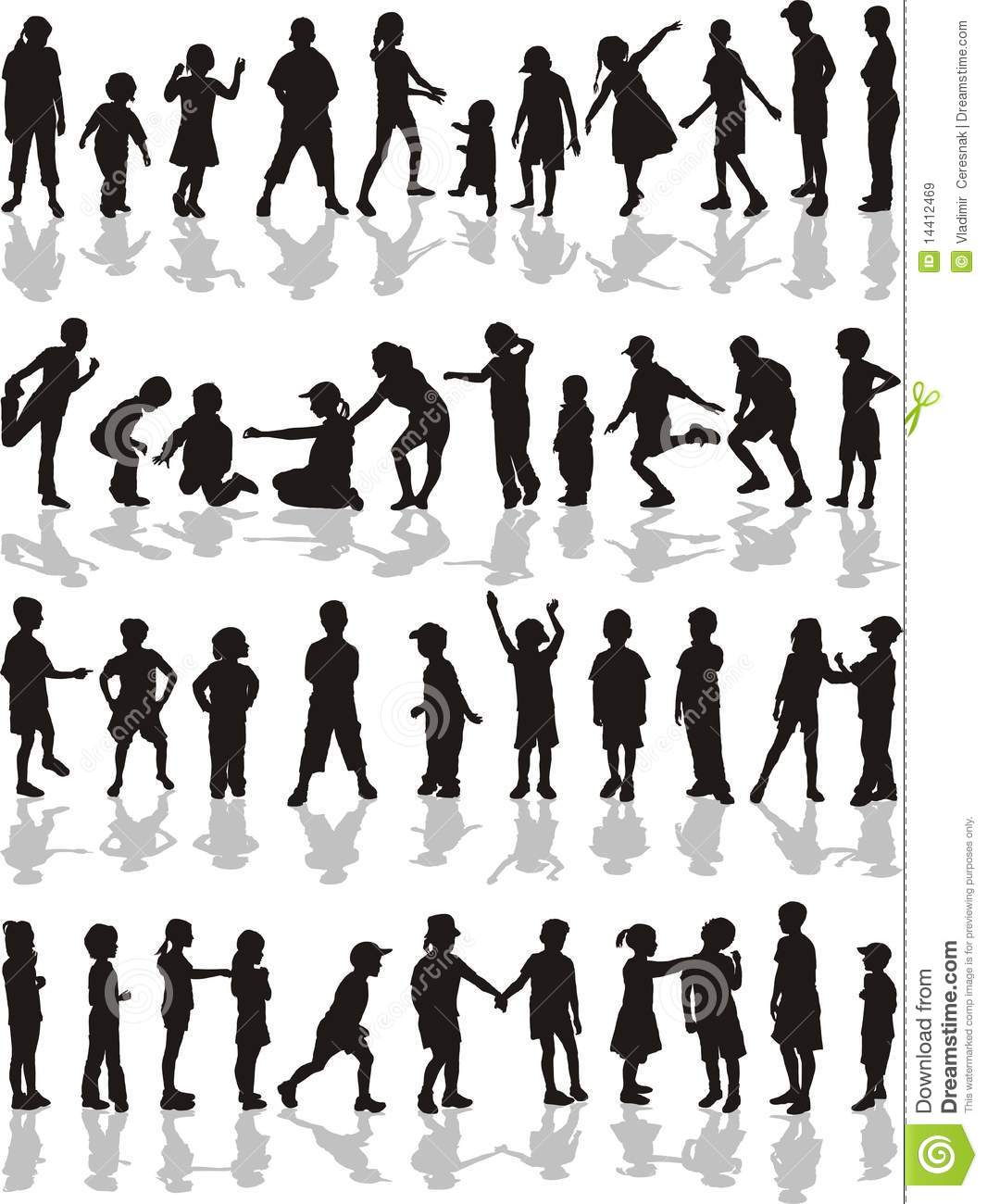 Kids Silhouette Vector Free