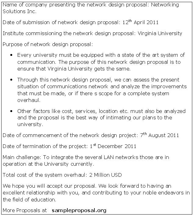 14 Design Proposal Sample Images - Network Design Proposal Sample
