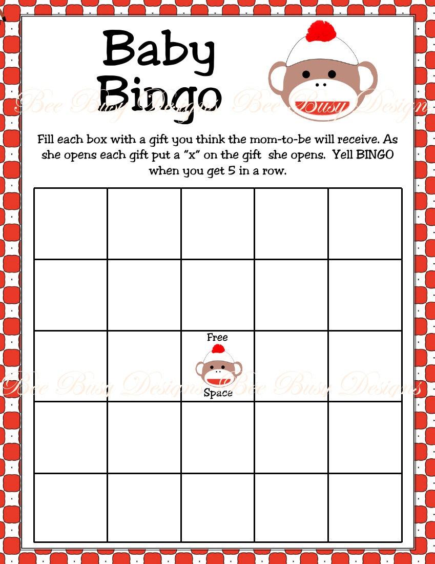 Printable Monkey Baby Shower Bingo Games