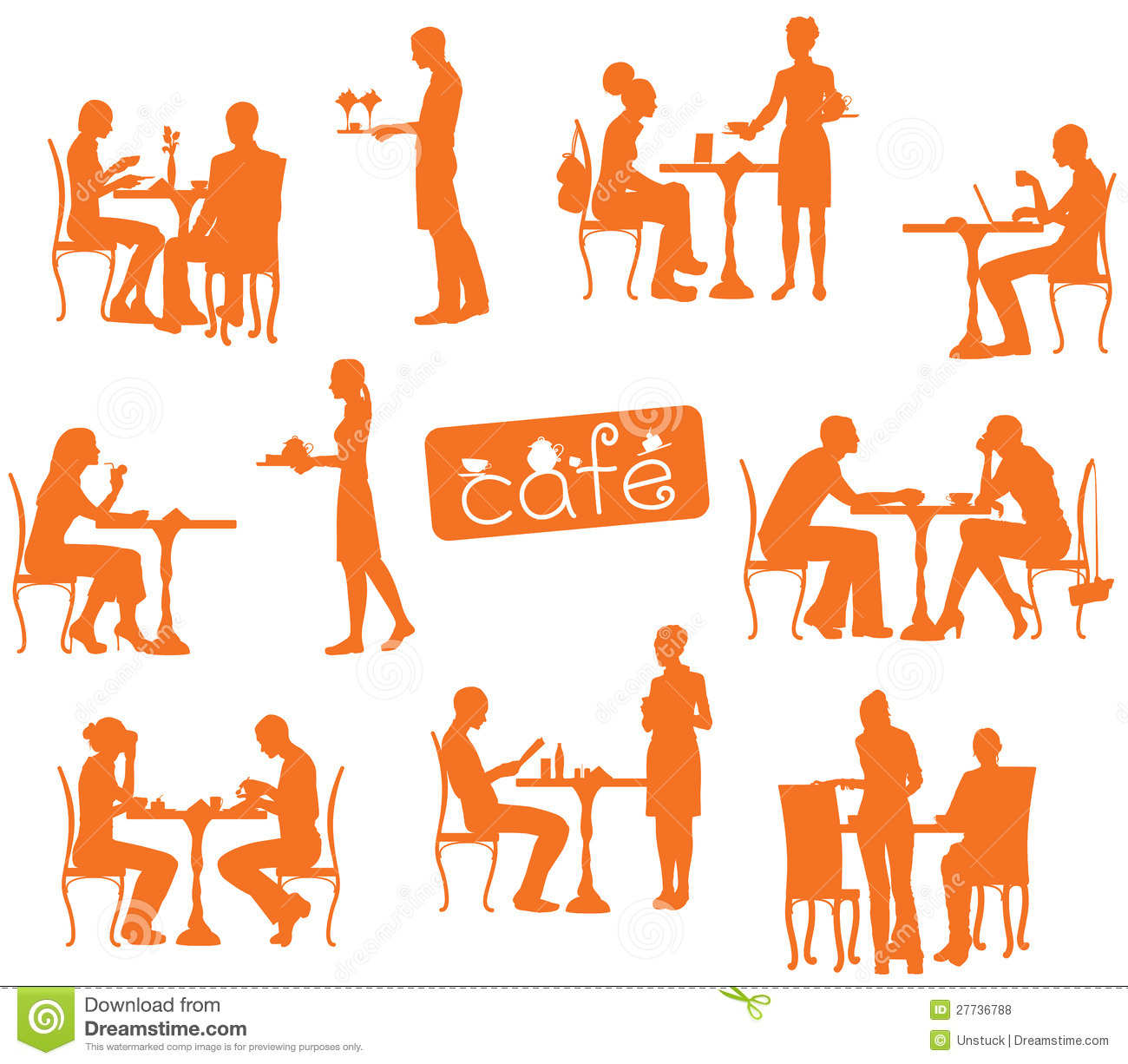 Silhouette of People Sitting in Cafe
