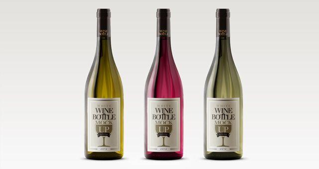19 PSD Wine Bottles Images